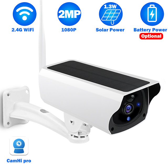 Y4P 2 mp Solar Camera 1080P HD Solar Powered Wireless WIFI IP Camera Outdoor Infrared Night Vision Waterproof Security Surveillance Camera Support 64 GB / Android