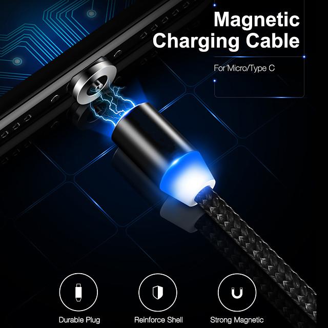 マイクロUSB USB C ケーブル 磁石バックル データ送信 電話充電器 2 A TPE 用途 Xiaomi MI サムスン Huawei 携帯電話アクセサリー