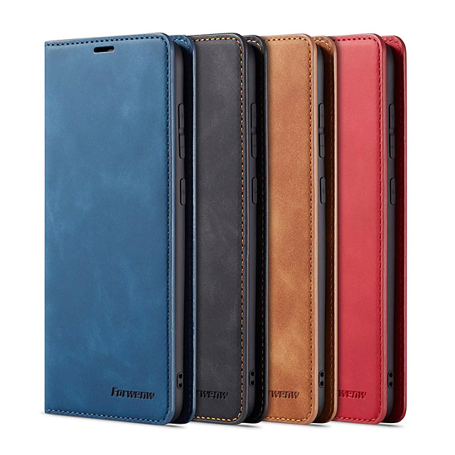 Forwenw Leather Case For Samsung Galaxy S21+ S20 Ultra S10+ A71 A51 A90 A50 A40 A30 A20 A10 A20E A7 Mobile Phone Flip Wallet Protective Case with Kickstand Card Slot Magnetic Closure Shockproof Cover