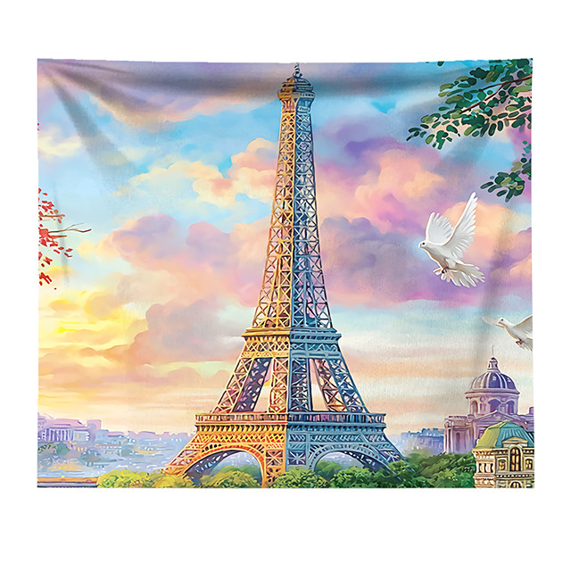 Wall Tapestry Art Decor Blanket Curtain Hanging Home Bedroom Living Room Decoration Polyester Eiffel Tower Paris Flying Pigeon