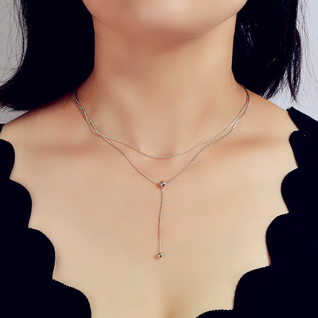 Women's Layered Necklace Alloy Silver 39 cm Necklace Jewelry For Festival