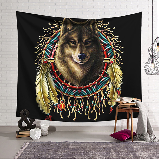Wall Tapestry Art Decor Blanket Curtain Hanging Home Bedroom Living Room Decoration Polyester Wolf India