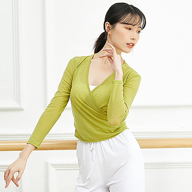 Activewear Top Ruching Bandage Solid Women's Training Performance Long Sleeve High Tulle