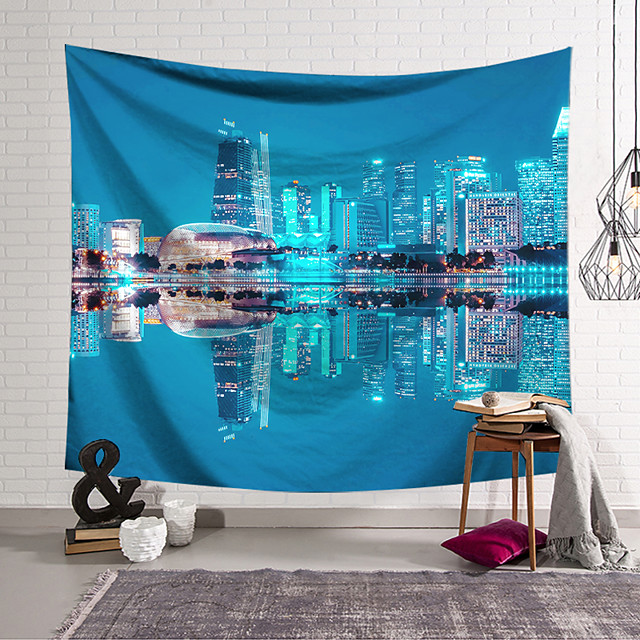Wall Tapestry Art Decor Blanket Curtain Hanging Home Bedroom Living Room Decoration Polyester City Night View