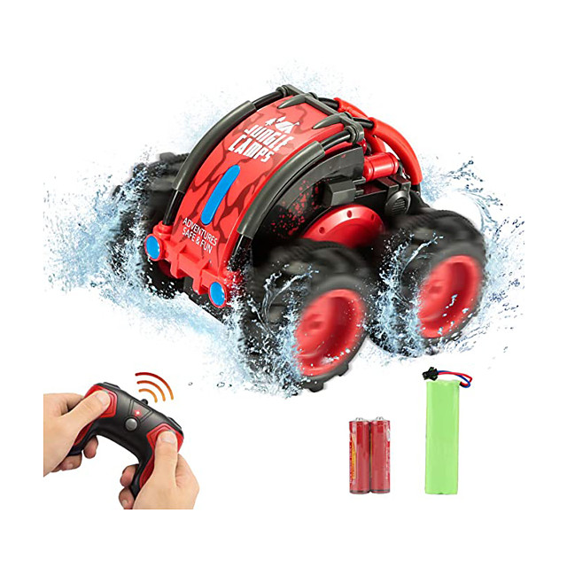 Remote Control Car for Boys, 2.4 GHz Remote Control Boat Waterproof RC Monster Truck Stunt Car 4WD Remote Control Vehicle Suitable for Use On Land and Water, Christmas Birthday Gifts