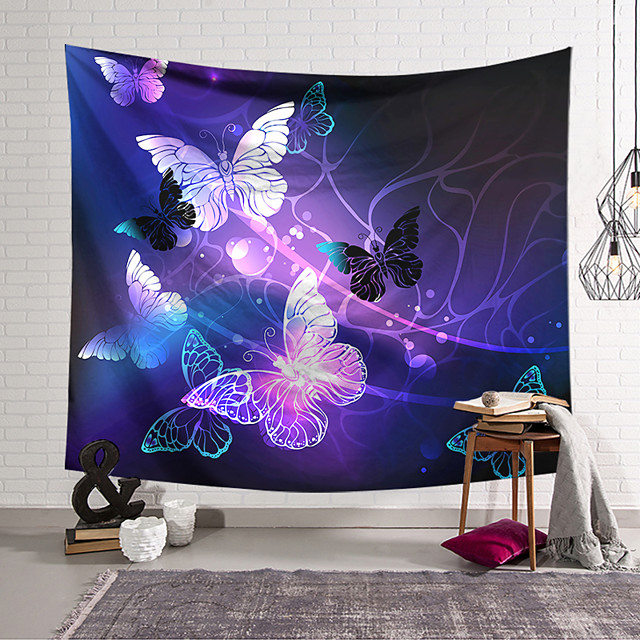 Wall Tapestry Art Decor Blanket Curtain Hanging Home Bedroom Living Room Decoration Polyester Purple Gold Butterfly Line