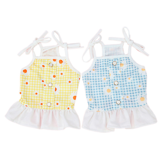 Dog Cat Dress Vest Lace Daisy Elegant Adorable Cute Dailywear Casual / Daily Dog Clothes Puppy Clothes Dog Outfits Breathable Yellow Blue Costume for Girl and Boy Dog Cotton XS S M L XL