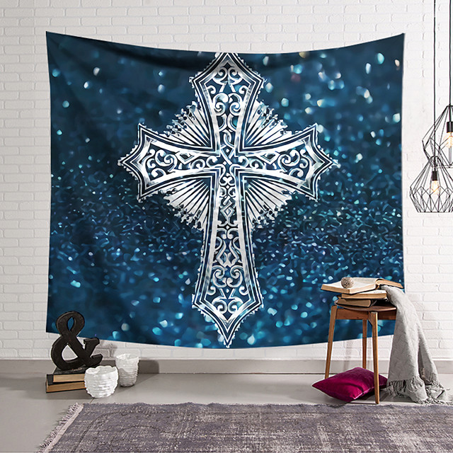 Wall Tapestry Art Decor Blanket Curtain Hanging Home Bedroom Living Room Decoration Polyester Cross Badge Blue Background Sparkling
