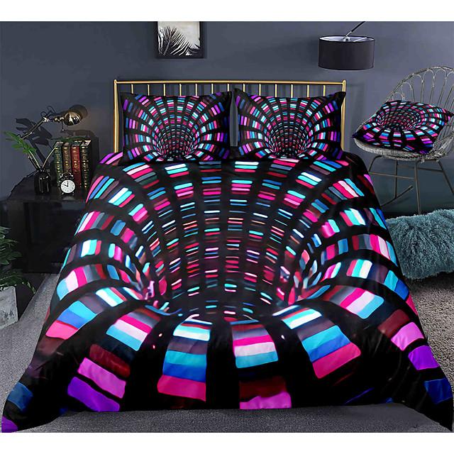 Juego de funda nórdica de 3 piezas 3d vortex juegos de cama de hotel funda de edredón con microfibra suave y ligera, incluye 1 funda nórdica, 2 fundas de almohada para cama doble / queen / king (1