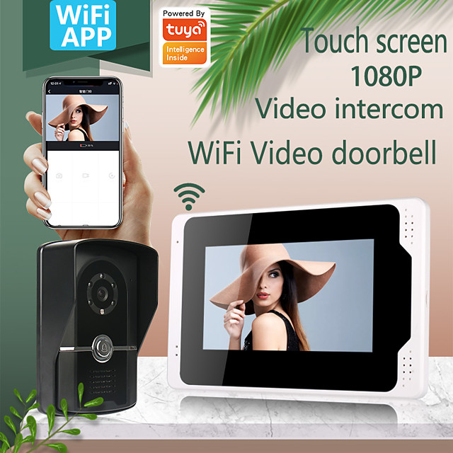 WIFI / Wired & Wireless Recording Snapshot wiht Motion Detect 7inch Monitor Video Intercoms Home Security System Video Doorbell Door phone with 1080P camera Multi-language support Tuay APP