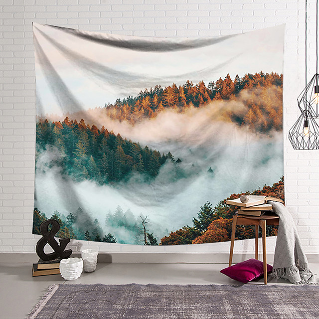 Wall Tapestry Art Decor Blanket Curtain Hanging Home Bedroom Living Room Decoration Polyester Sea of Clouds Forest Sunshine
