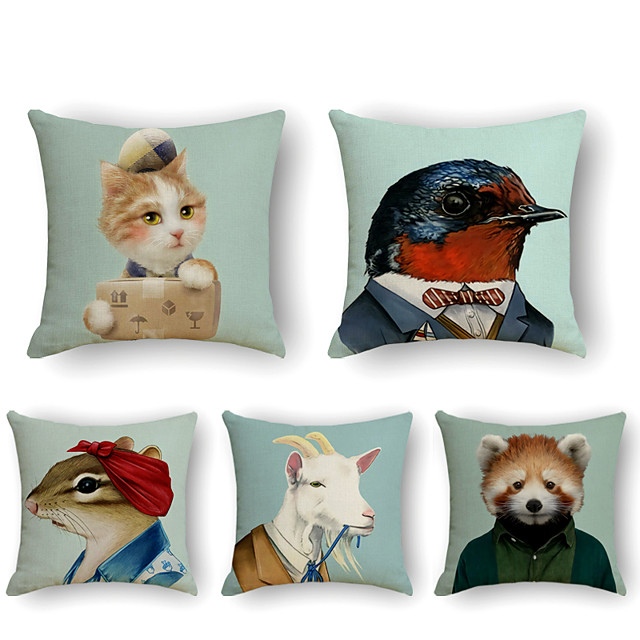 5 pcs Linen Pillow Cover, Animal Simple Casual Square Polyester Traditional Classic