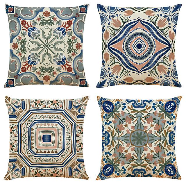 funda de cojín 4 piezas de lino de imitación suave geométrico simple clásico cuadrado funda de almohada funda de cojín funda de almohada para sofá dormitorio de calidad superior lavable a máquina de