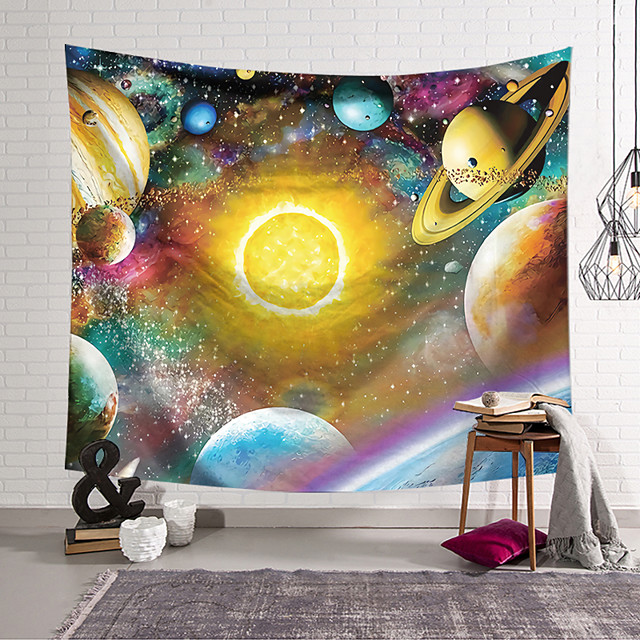 Wall Tapestry Art Decor Blanket Curtain Hanging Home Bedroom Living Room Polyester Colourful Planet