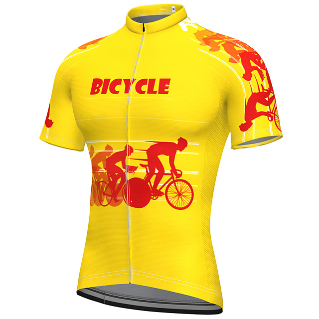 21Grams Men's Short Sleeve Cycling Jersey Summer Spandex Polyester Yellow Bike Jersey Top Mountain Bike MTB Road Bike Cycling Quick Dry Moisture Wicking Breathable Sports Clothing Apparel