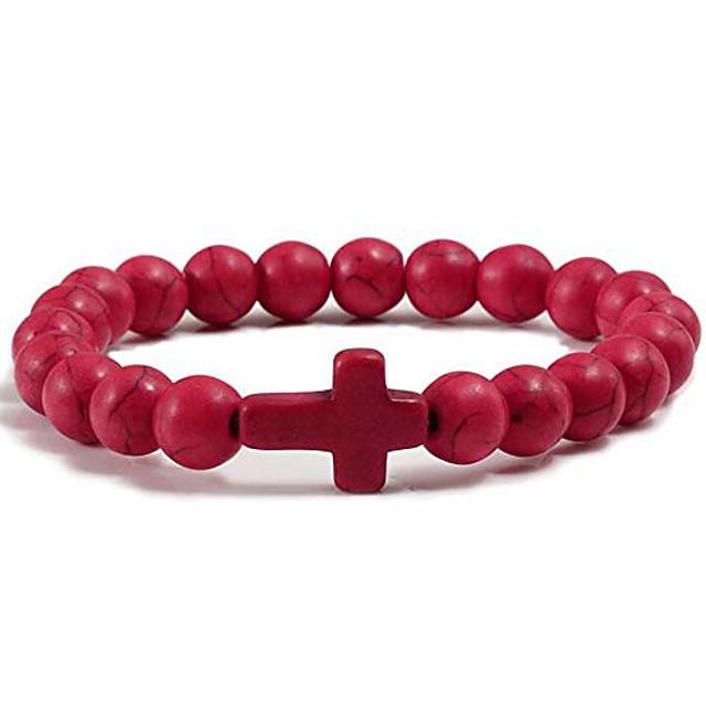 jude jewelers christian sideways cross turquoise beads strand bracelet (red)