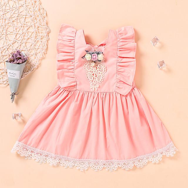 Toddler Little Girls' Dress Flower Beaded Bow Blushing Pink Sleeveless Active Dresses Summer Regular Fit 2-6 Years