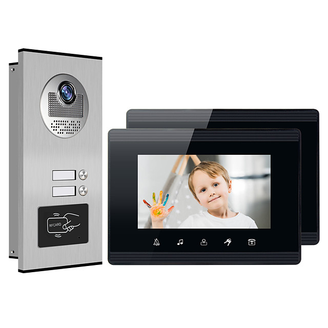 XINSILU XSL-V70W-B Wired RFID 7 inch Hands-free 800*480 Pixel One to Two video doorphone