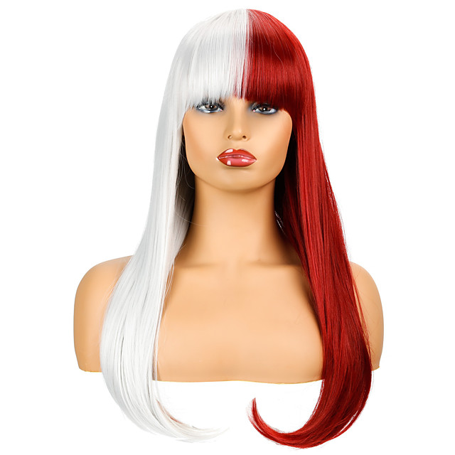 Synthetic Wig Natural Straight Neat Bang Wig Medium Length Red / White Synthetic Hair Women's Cosplay Party Fashion Silver Burgundy