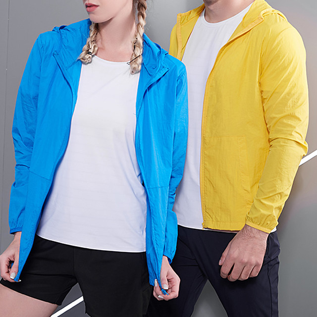 Women's Men's UPF 50+ Clothing UV Sun Protection Lightweight Jacket Zip Up Hoodie Jacket Windbreaker Cooling Sun Shirt with Pockets Quick Dry Packable Coat Top Hiking Fishing Outdoor Performance