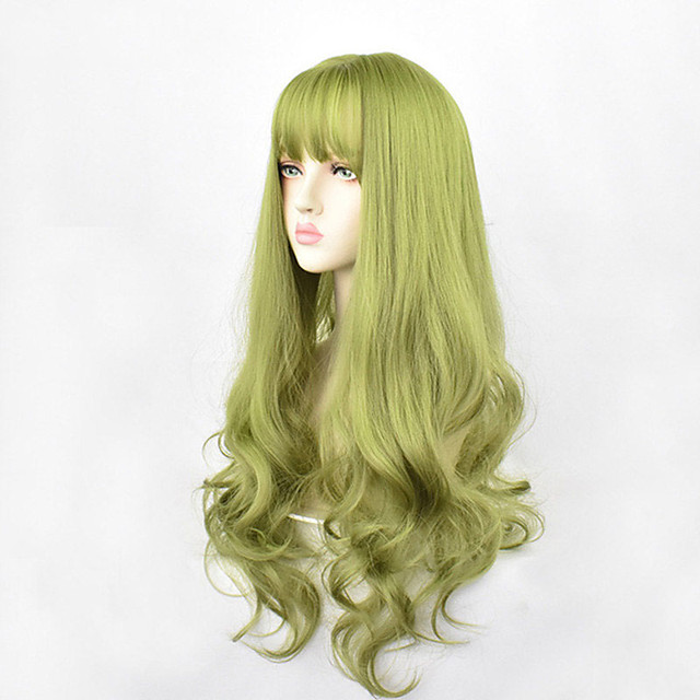 24inch Synthetic Green Black Hair Curly Big Wave Cosplay Wigs With Bangs for Women African American Heat Resistant Fiber Hair