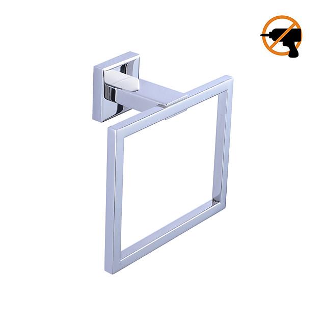 Modern Towel Ring Drill-Free/Adhesive SUS304 Stainless Steel Bathroom Hardware Towel Holder Rustproof Hotel bath Wall Mount Brushed Finish