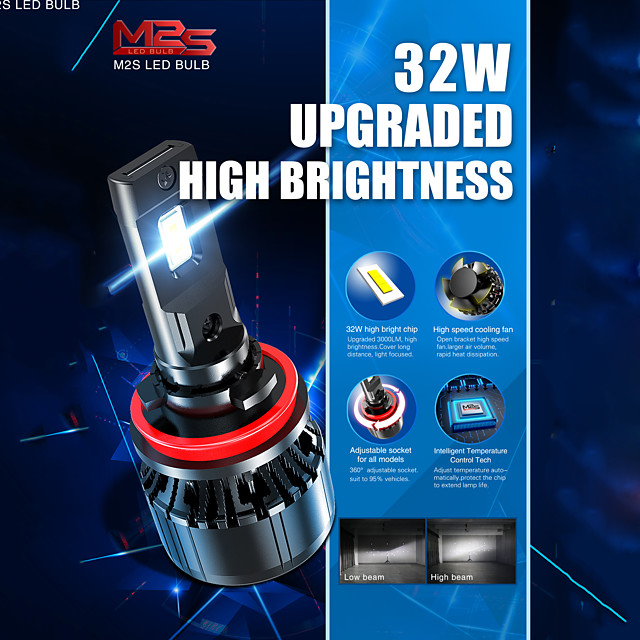 Car LED Headlamps H4 / H11 / 9005(HB3) Light Bulbs 6000 lm 32 W For universal All years 2pcs