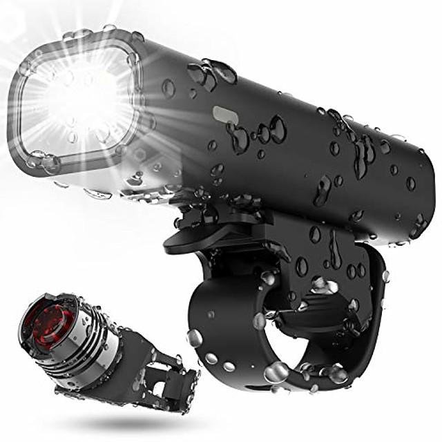 USB wiederaufladbares Fahrrad Licht Set, Laufzeit 8+ Stunden 400 Lumen superhelle Scheinwerfer Frontlichter und hinten hinten LED, 4 Licht Modus passt für alle Fahrräder, Berg, Straße