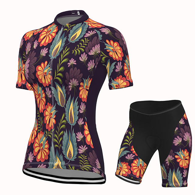 Women's Short Sleeve Cycling Jersey with Shorts Spandex Black Floral Botanical Bike Breathable Quick Dry Sports Graphic Mountain Bike MTB Road Bike Cycling Clothing Apparel / Stretchy / Athletic