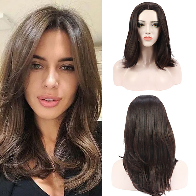Synthetic Wig Wavy Middle Part Natural Hairline High Temperature Fiber Wigs