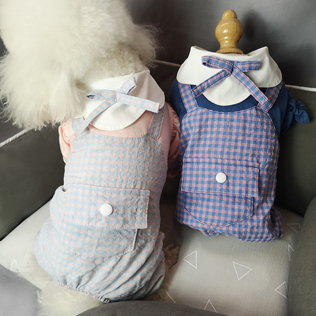 Dog Cat Shirt / T-Shirt Jumpsuit Plaid Bowknot Basic Elegant Cute Dailywear Casual / Daily Dog Clothes Puppy Clothes Dog Outfits Breathable Dark Blue Light Blue Costume for Girl and Boy Dog Cotton S