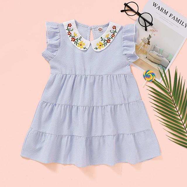 Kids Toddler Little Girls' Dress Solid Colored Print Blue Knee-length Sleeveless Active Dresses Summer Regular Fit 2-8 Years