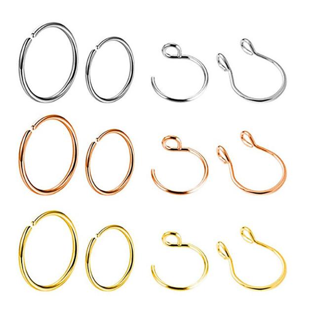 12 nipple ring stainless steel non-piercing nipple rings clip on nipplerings faux body piercing jewelry for women men