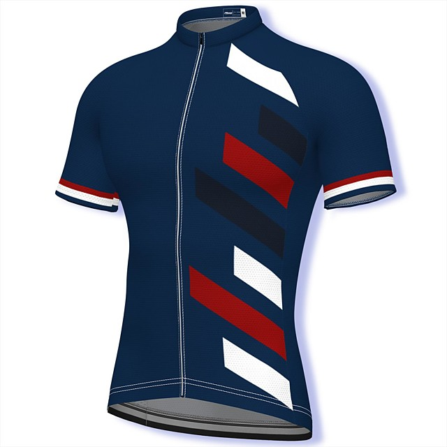 21Grams Men's Short Sleeve Cycling Jersey Summer Spandex Polyester Dark Navy Stripes Patchwork Bike Jersey Top Mountain Bike MTB Road Bike Cycling Quick Dry Moisture Wicking Breathable Sports