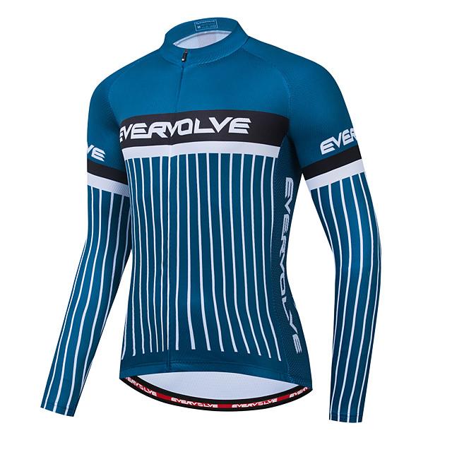 Homens Manga Longa Camisa para Ciclismo Azul Escuro Moto Camisa / Roupas Para Esporte Bolso Traseiro Esportes Roupa / Micro-Elástica / Roupa Esportiva