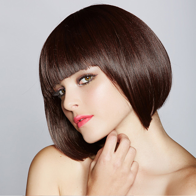 Synthetic Wig Straight Bob Neat Bang Wig Short Black / Brown Synthetic Hair Women's Fashionable Design Cosplay Party Black Brown