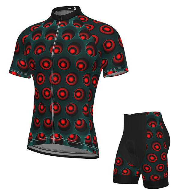 21Grams Men's Short Sleeve Cycling Jersey with Shorts Summer Spandex Polyester Dark Green Dot Bike Clothing Suit 3D Pad Quick Dry Moisture Wicking Breathable Reflective Strips Sports Graphic Mountain
