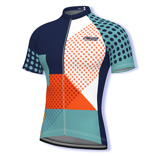 21Grams Men's Short Sleeve Cycling Jersey Summer Spandex Polyester Blue Polka Dot Bike Jersey Top Mountain Bike MTB Road Bike Cycling Quick Dry Moisture Wicking Breathable Sports Clothing Apparel
