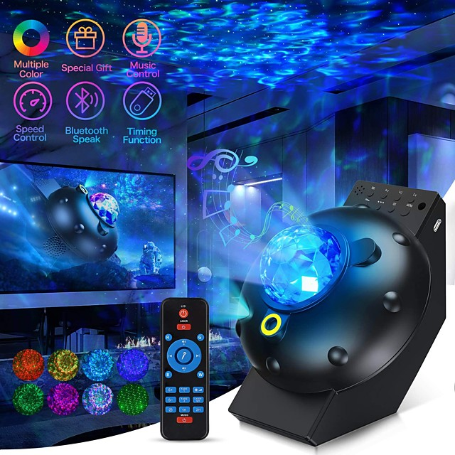 galaxy star projector sky light lite starry night projector nevel room decor, space projector for bedroom cloud cove ocean wave light, time plafondlamp 360 pro projector for kids bluetooth speaker