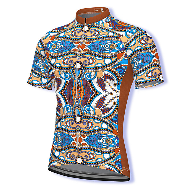 21Grams Men's Short Sleeve Cycling Jersey Summer Spandex Polyester Brown Paisley Bike Jersey Top Mountain Bike MTB Road Bike Cycling Quick Dry Moisture Wicking Breathable Sports Clothing Apparel