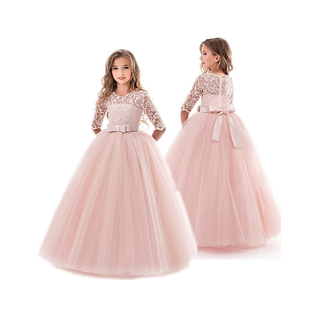 Kids Little Girls' Dress Floral Lace Princess Solid Colored Party Wedding Evening Solid Colored Pegeant Bow White Purple Red Maxi Dresses