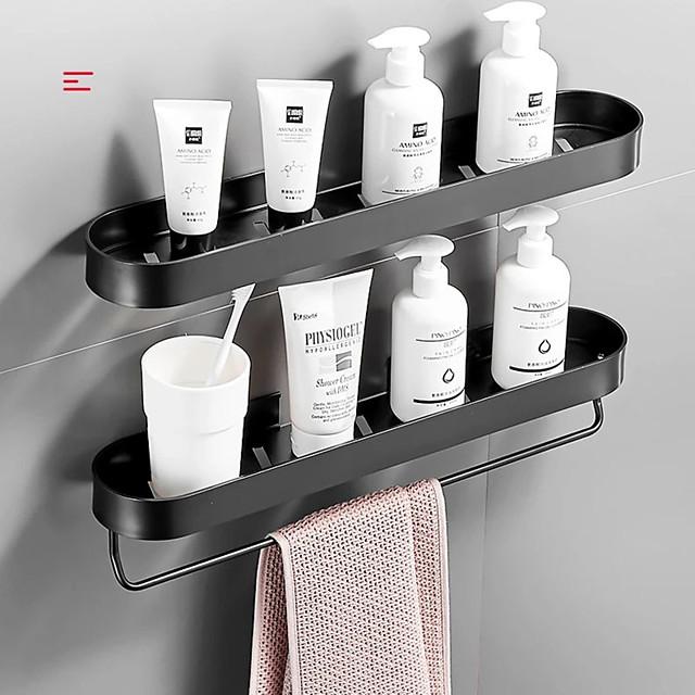 30cm Bathroom Black Shelf with Towel Bar Space Aluminum Corner Shelves Towel Rack with Hook Shampoo Holder Kitchen Storage Rack