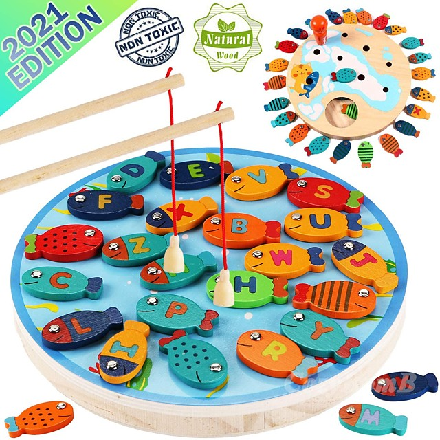 Magnetic Wooden Fishing Game Toy for Toddlers - Alphabet Fish Catching Counting Preschool Board Games Toys for 3 4 5 Year Old Girl Boy Kids Birthday Learning Education Math with Magnet Poles