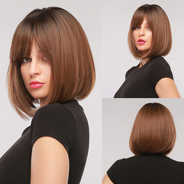 Synthetic Wig Natural Straight Bob Wig Short Black / Brown Synthetic Hair Women's Cosplay Party Fashion Black Brown