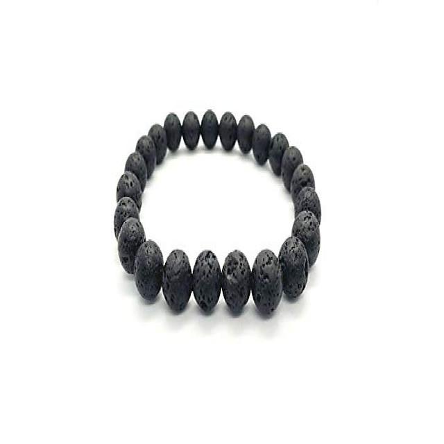 men women natural lava gem stone beads elastic 8mm bracelet handmade jewelry (black holed)