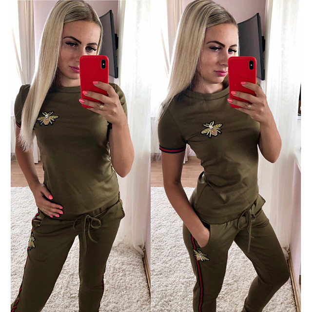 Women's 2 Piece Tracksuit Athletic Athleisure 2pcs Short Sleeve Thermal Warm Moisture Wicking Breathable Fitness Gym Workout Running Jogging Exercise Sportswear Normal Black Red Dark Green Pink Green