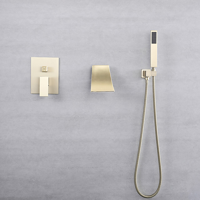 Bathtub Faucet - Retro Nickel Brushed Wall Installation Ceramic Valve Bath Shower Mixer Taps
