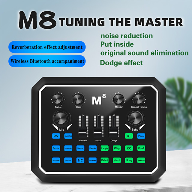 M8 Audio USB External Sound Card Headset Microphone Webcast Personal Entertainment Streamer Live Broadcast for PC Phone Computer