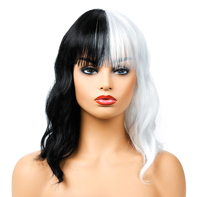 Synthetic Wig Curly Neat Bang Wig Medium Length Black / White Synthetic Hair Women's Cosplay Party Fashion Black White