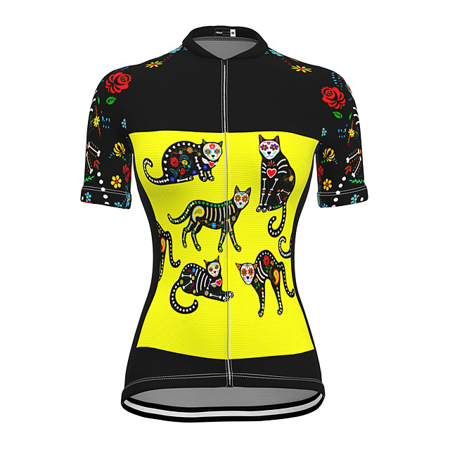 21Grams Women's Short Sleeve Cycling Jersey Summer Spandex Polyester Yellow Cat Bike Jersey Top Mountain Bike MTB Road Bike Cycling Quick Dry Moisture Wicking Breathable Sports Clothing Apparel